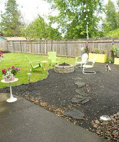 abby and adam: backyard makeover - DIY crushed rock patio...lovely backyard!