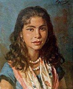 Loli, the gypsy, oil by G.O.W. Apperley