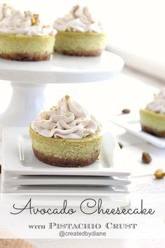 Avocado Cheesecake with Pistachio Crust @createdbydiane