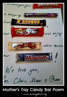 Need a simple Mother's Day gift that the kids can help you make? How about a candy bar poem!