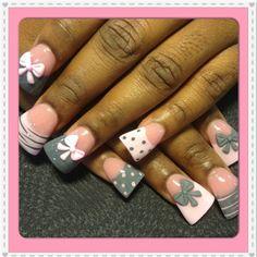 Pink and grey 3-d bows by Oli123 - Nail Art Gallery nailartgallery.nailsmag.com by Nails Magazine www.nailsmag.com #nailart