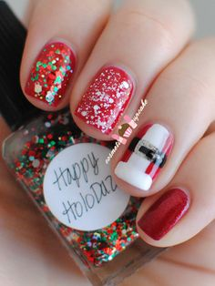 Really easy to do Santa suit accent nail