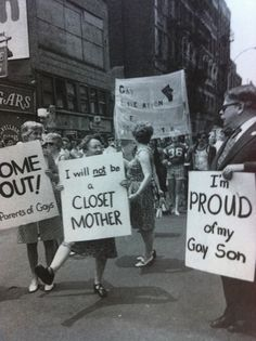Early Gay Rights demonstration, New York City, 1970s.