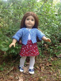 "Garter stitch cardigan for 18"" dolls - free pattern"