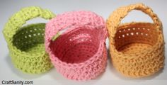 Mini Baskets free crochet pattern