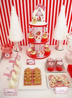 holiday, dessert tables, christmas parties, gingerbread party, bird party, christmas candy, candy canes, christma parti, candy land