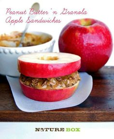 Peanut Butter and Granola apple sandwich