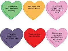 Free! Candy Heart Conversation Starters topics/questions