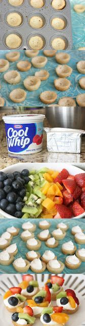 Mini Deep Dish Fruit Pizza  one roll of sugar cookies pressed into mini muffin tin, bake accordingly. While cooling blend 8oz block cream cheese w lg tub cool whip. Squeeze from gal size ziploc into cooled cookies. Top w favorite fruits.