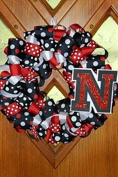 Ribbon Wreath But NOT in Nebraska colors! :)