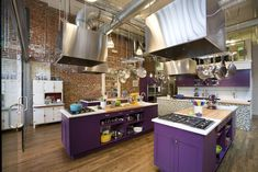 Even though this is a cooking school...I like the idea of purple base cabinets!