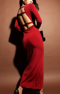 Red Back Hollow-out Long Sleeves Maxi Party Dress