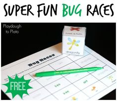 Super Fun Bug Races. Awesome free printable game from Playdough to Plato.
