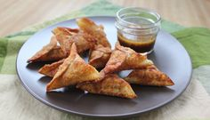 Mushroom and Kale Wontons with Sesame Ginger Dipping Sauce