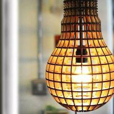 Laser Cut Wooden Bulb. Made of laser cut wood.