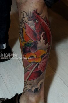 red #KOI fish #tattoo on the leg