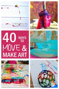 Make fun art projects for kids by making art bigger and with movement. Easier for little ones to make art!