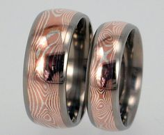 Reserved listing for Anouris - Mokume Gane inlaid in Titanium Wedding or Anniversary Ring Set - jer1-003
