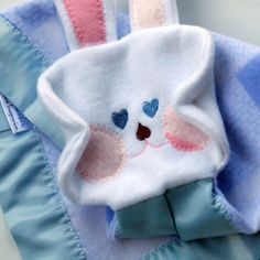 Baby bunny security blanket, blue plaid