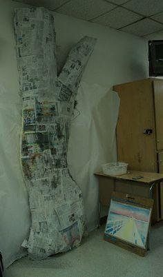 Paper mache tree on wall