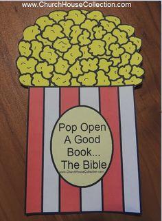 Church House Collection Blog: Pop Open A Good Book...The Bible- Popcorn Cutout Craft or Bulletin Board Idea #popcorn #template #printable #bulletin #board #crafts #kids #bible #kids #sunday #school