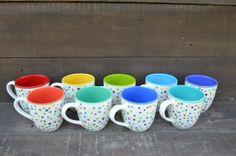 Awesome Dots Large Ceramic Rainbow Coffee Mug - 16 oz. - OOAK Hand Painted Mug