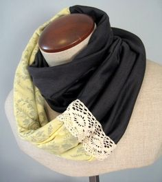 i love infinity scarves and this lace detailing is super cute.