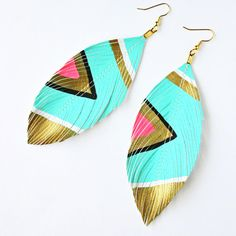 I need these Neon Aztec Turquoise  Faux Leather Feather by lovesexton in my life