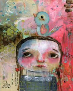 mixed media art by Mindy Lacefield. i LOVE the pastel colors in this one...
