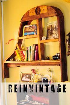 Piano Frame Bookshelf #Piano, #Upcycle, #UpcycledFurniture, #Vintage, #Wallhanger