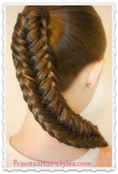 "Pretty variation of a fishtail braid, the ""twisted edge fishtail."""