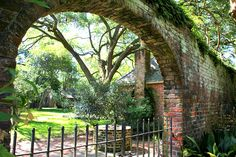arch into backyard