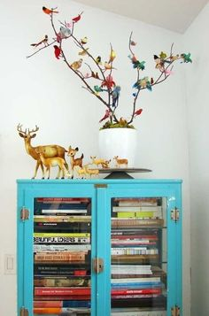 cabinet. turquoise, tree, colors, book storage, vintage birds, bookcas, cabinet, branch, deer