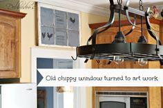 repurpos window, old windows, chalkboard, kitchen