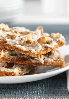 Graham Cracker Pralines—topped with a layer of pecans and then baked in a sugar glaze—are perfect as an after-school snack or as an after-dinner sweet treat.