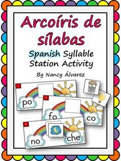 This Spanish syllable activity will give your students practice combining two syllables words. Students will practice combining two Spanish syllables and identifying its matching picture.    Includes:  45 different rainbow syllable cards  45 two syllable picture cards  reproducible answer recording sheet