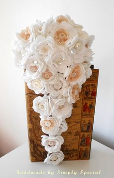 Unusual hand crochet teardrop Brides bouquet and Grooms buttonhole set.. £125,00, via Etsy.