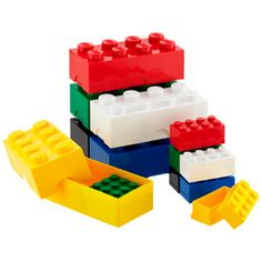 Fun desktop storage for His desk.  The Container Store > LEGO® Boxes