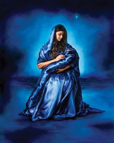 "Mother's Love, Akiane Kramarik. The artist's words: ""I painted Mary in a silky blue robe surrounded by a background palette of cerulean, cobalt and Persian blue. This is how I interpreted the vision of baby Jesus and his beautiful young mother. The robe connects both of them as if there were one. Mary is the symbol of love, warmth, affection, tenderness and devotion. Her story is the story of love and faith."""
