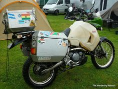 KLR 650 with huge aluminum side cases & trunk and massive gas tank