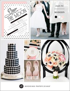 Black and white is forever chic. Put a modern spin on your wedding theme by pairing this classic color combination with pale pink, and work a simple graphic pattern into the mix.