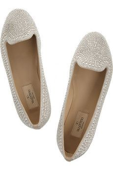 Valentino|Crystal-studded suede loafers LOOOVE!!!