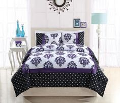 Franchesca Purple Dot Bedding (Black and Purple Polka Dot and Damask Bedding) Classic and contemporary all at one time with  this striking bed that starts with a black base  frame with whi...