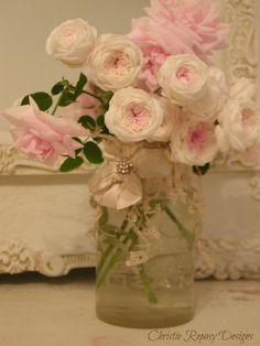 French roses with vintage wedding lace and ribbon ~ C.Repasy