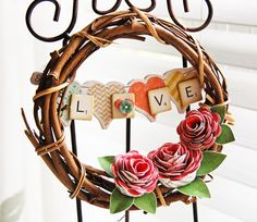 Love wreath with paper roses