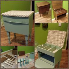 "Refinished sewing cupboard.  Paint: CIL Martha Stewart MSL130 Salvia. Feet: Waddell 15-1/4-in Ash Country French Traditional Wood Table Leg.  Top:  Jersey-Knit Fabric over 1/2"" foam, spray glued and wrapped around, secured on bottom by fabric-wrapped cardboard and fabric tacks."