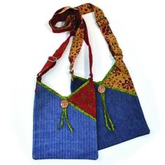 sew project, passport bag, india, recycled denim, fair trade, bag denim, bags, recycl denim, denim passport