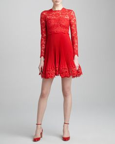 DIO MIO. [Long-Sleeve Lace Plisse Dress, Rosso by Valentino]