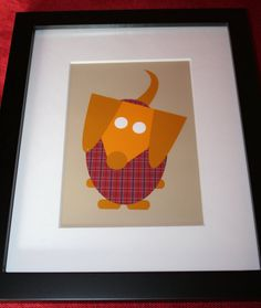 Sweet Yellow Cream Dachshund in Sweater Framed Art Print available through the Furever Dachshund Etsy Shop