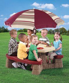 Look at this #zulilyfind! Maroon Kids' Picnic Table & Umbrella by Step2 #zulilyfinds